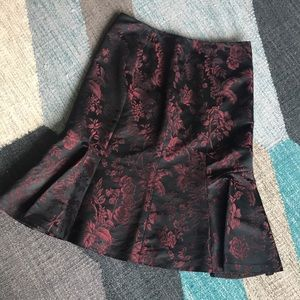 Ann Taylor Satin Black with Blood Red Flowers
